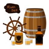 兰姆酒集合 酒精,舵,桶,射击,兰姆酒瓶 平的样式 库存照片