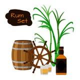 兰姆酒,桶,瓶,甘蔗,舵,在平的样式的射击 免版税库存照片