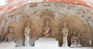 兰州,中国- 2014年9月30日:在炳灵洞Te的菩萨雕象 库存图片