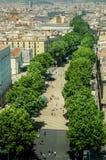兰布拉,巴塞罗那,卡塔龙尼亚,西班牙著名步行街道  库存图片