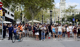 兰布拉de Catalunya,在巴塞罗那,西班牙 免版税图库摄影