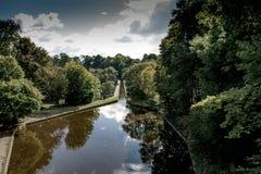 兰戈伦运河渡槽在Chirk英国威尔士边界 库存图片