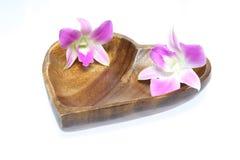 兰花头状花序在一块木板材的 免版税库存图片