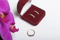 兰花开花在白色背景的特写镜头 倒挂金钟的颜色 附近有礼物的一个开放天鹅绒箱子 belove的耳环 免版税库存图片