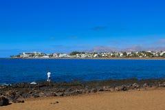 兰萨罗特岛有许多和美丽的海滩 免版税库存图片