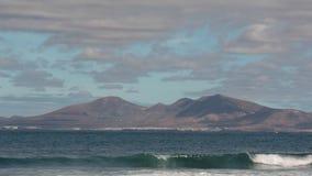 兰萨罗特岛海岛看法有轮渡的 股票录像