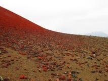 兰萨罗特岛的红色的熔岩荒野 库存照片