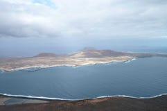 兰萨罗特岛鸟瞰图  库存照片