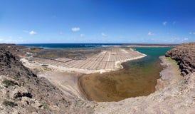 兰萨罗特岛-盐Salinas de Janubio 免版税图库摄影
