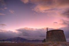 兰萨罗特岛Playa布朗卡西班牙天空在晚上 库存图片