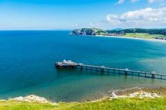 兰迪德诺海滨人行道在北部威尔士,英国 库存照片