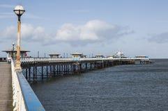 兰迪德诺码头,北部威尔士,英国在一个晴天在早期的春天 免版税库存图片
