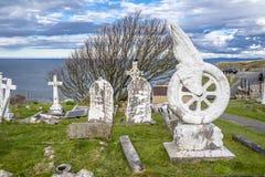 兰迪德诺,威尔士,英国- 2018年4月22日:比阿特丽斯Blore-Browne独特的墓碑在圣Tudno ` s教会站立 免版税库存图片