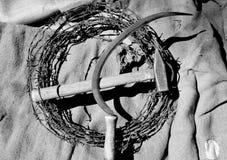 共产主义、贫穷、贫寒和unfreedom的镰刀和锤子标志 库存图片