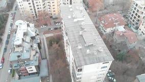 共产主义大厦鸟瞰图在索非亚,保加利亚  老大厦在巴尔干的首都 东部苏联Str 影视素材
