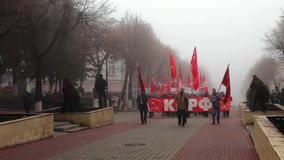 共产主义行军在奥廖尔州 股票视频