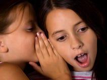 共享年轻人的女孩秘密 免版税库存图片