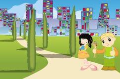 共享爱的小的孩子在城市 库存例证