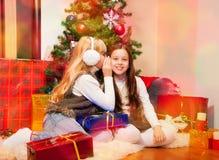 共享秘密的二个女孩 免版税库存图片