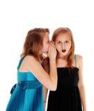 共享秘密的二个女孩 库存图片