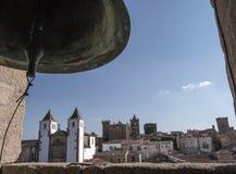 共同大教堂,古城o的全景钟楼  库存图片