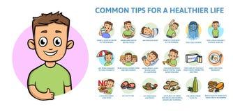 共同的健康生活方式技巧 与文本和字符的Infographics海报 平的传染媒介例证,水平 向量例证