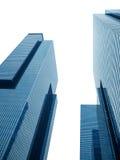 共同的现代企业摩天大楼,隔绝在白色背景 库存图片