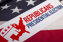 共和党人总统选举表决和美国国旗 免版税库存照片