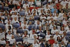 共和党总统候选人唐纳德・川普在南点竞技场&赌博娱乐场的竞选集会在拉斯维加斯 免版税库存照片