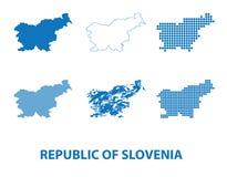 共和国地图斯洛文尼亚-剪影传染媒介套  图库摄影