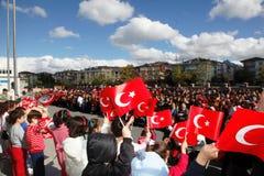共和国天庆祝在学校在土耳其 免版税库存图片