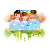 共和国天庆祝的印地安妇女战斗机飞行员 库存图片