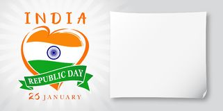 共和国天Idia, 1月26日问候横幅 免版税库存图片