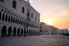 共和国总督日出的` s宫殿威尼斯 免版税图库摄影