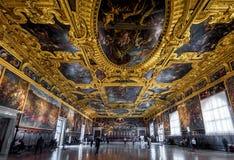 共和国总督` s宫殿的内部在威尼斯,意大利 库存照片