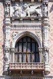 共和国总督` s宫殿的建筑细节在威尼斯 免版税库存照片