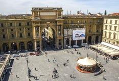 共和国正方形在佛罗伦萨 图库摄影