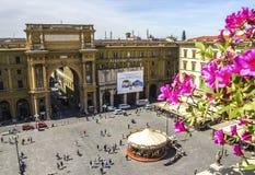共和国正方形在佛罗伦萨 库存照片