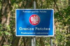 共和国波兰在Nowa Karczma的边界标志在Krynica Morska 免版税库存图片