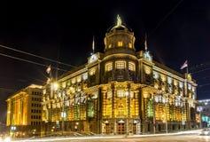 共和国的政府塞尔维亚在晚上 免版税库存照片