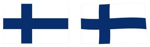 共和国芬兰旗子 简单和有一点挥动的版本 向量例证