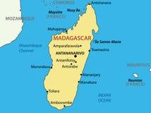 共和国马达加斯加-国家地图  免版税库存图片