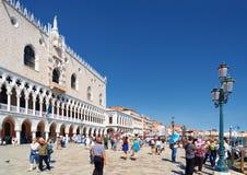 共和国总督宫殿和Riva degli Schiavoni,威尼斯 库存照片