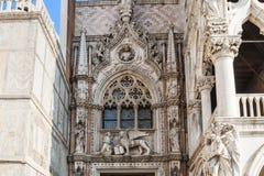 共和国总督宫殿( Palazzo Ducale) 威尼斯,意大利,建筑学细节 图库摄影