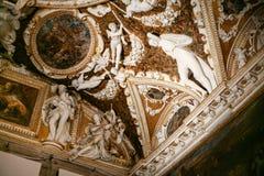 共和国总督` s宫殿装饰内部在威尼斯 免版税图库摄影