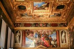 共和国总督` s宫殿-被绘的天花板内部  免版税库存图片