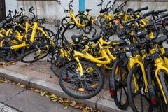 共有的自行车把路放到一边 免版税库存照片