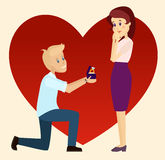 关于一个膝盖的结婚提议 库存图片