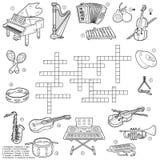 关于乐器的无色的纵横填字谜 库存例证