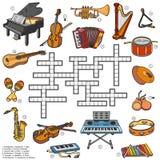 关于乐器的颜色纵横填字谜 库存例证